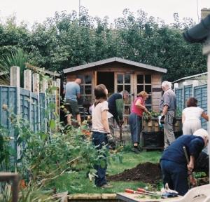 crew in garden